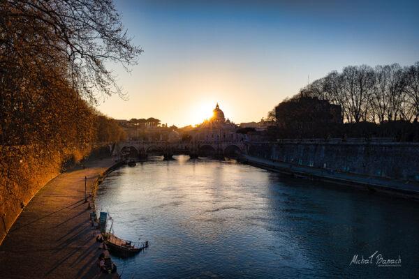 Sunset over Tiber river